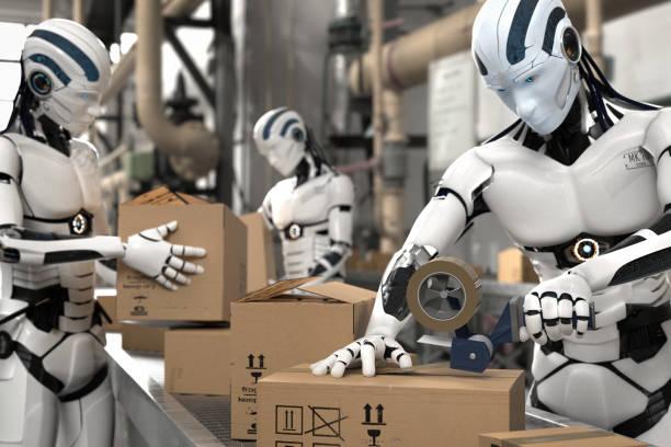 3d illustration robot som arbetstagare inom logistik - delivery robot bildbanksfoton och bilder