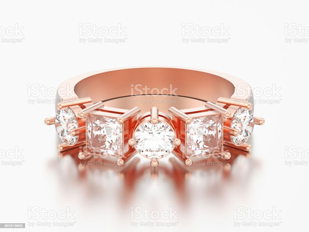 9277b392ea 3D illustration rose gold decorative ring with different round and square  diamond - Stock image .