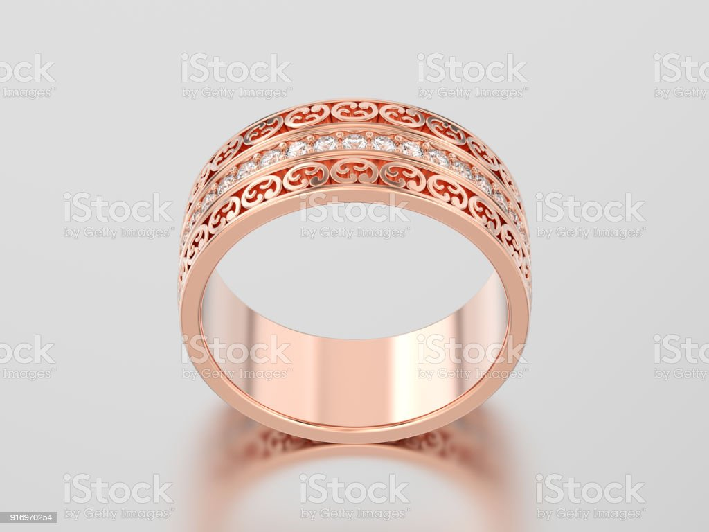 3d Illustration Rose Gold Decorative Wedding Bands Carved Out Ring