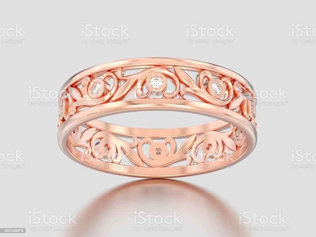 3D illustration rose gold matching couples wedding diamond ring bands stock photo