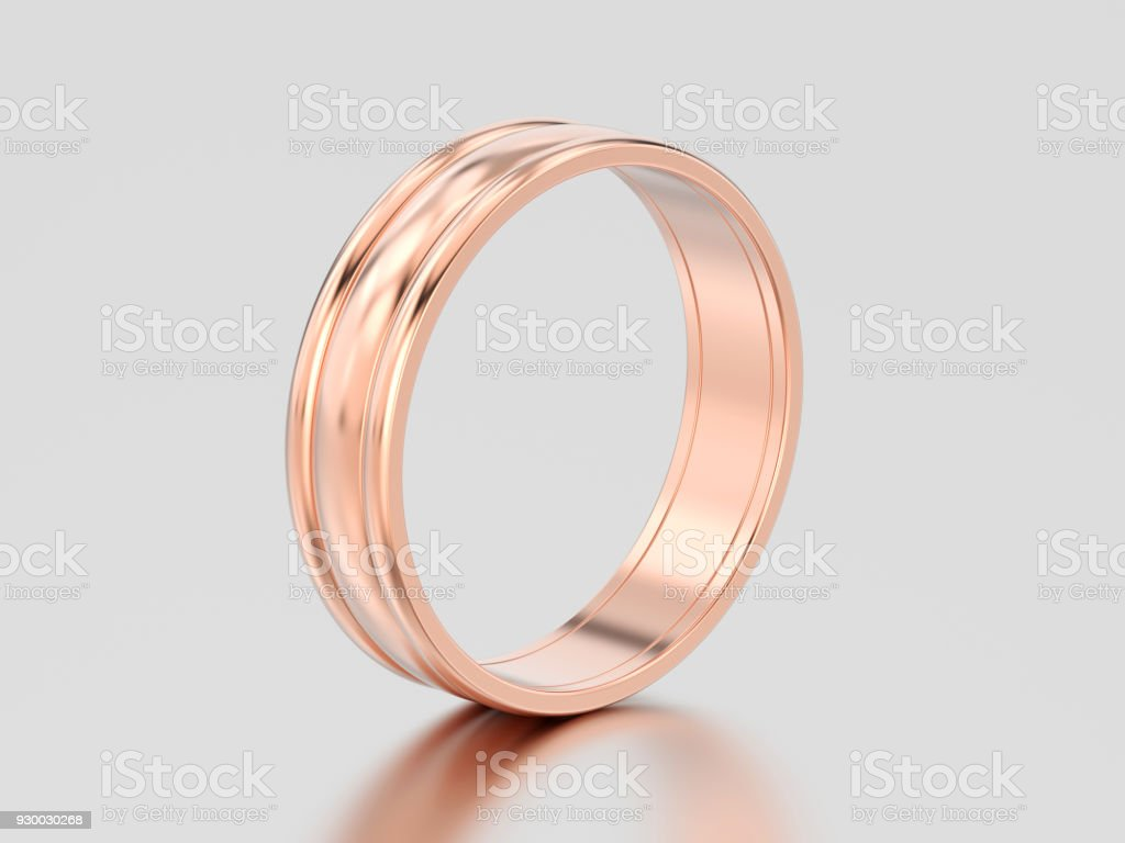 3D illustration rose gold matching couples wedding ring bands stock photo