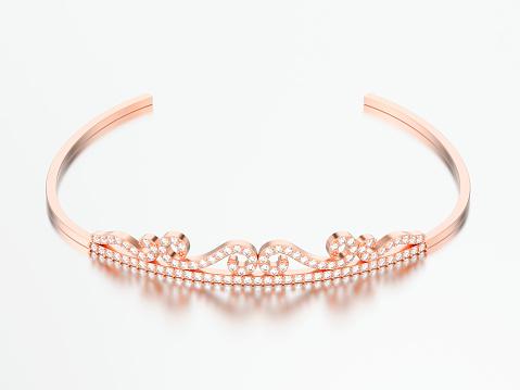 3d 그림 장미 골드 간단한 다이아몬드 티아라 Diadema 0명에 대한 스톡 사진 및 기타 이미지