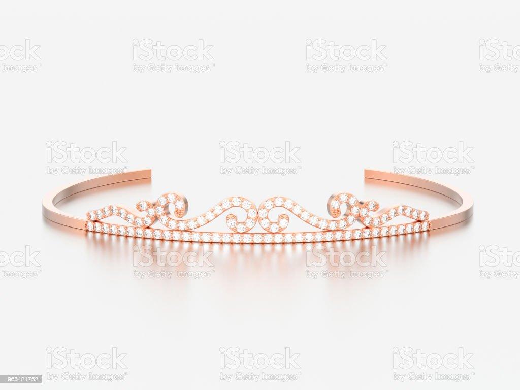Illustration 3D rose or diamant simple diadème diadema - Photo de Beauté libre de droits