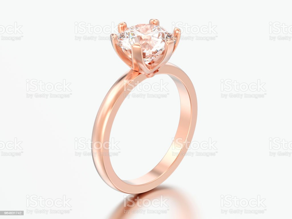 3D illustration rose gold traditional solitaire engagement diamond ring royalty-free stock photo