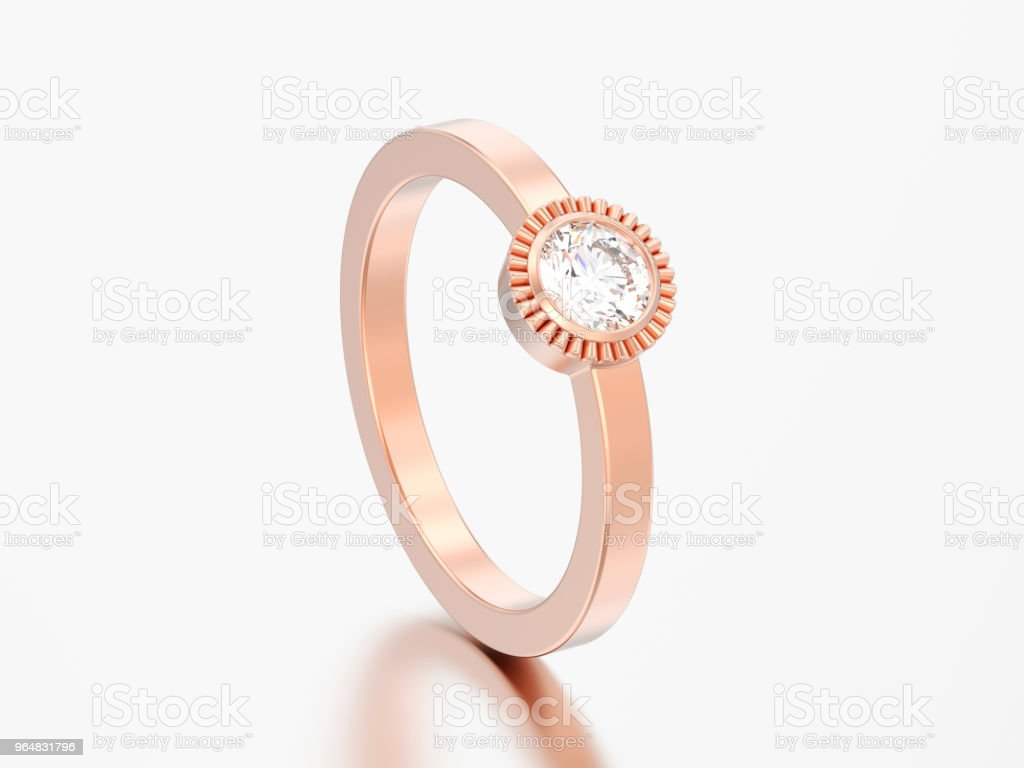 3D illustration rosegold wedding solitaire round diamond bezel ring royalty-free stock photo
