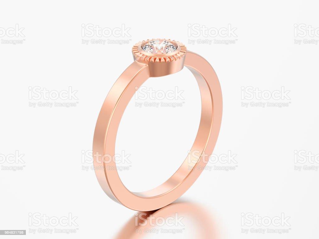 3D illustration rosegold wedding solitaire round diamond bezel ring royalty-free stock photo