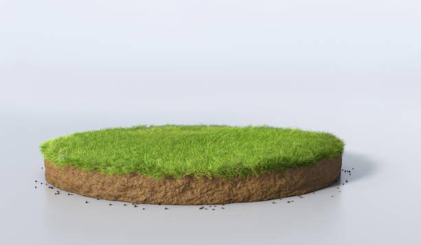 ilustración 3d ronda suelo tierra sección con tierra y pasto verde - pedazos de tierra fotografías e imágenes de stock
