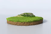 3D Illustration round soil ground cross section with earth land, green grass and mountain