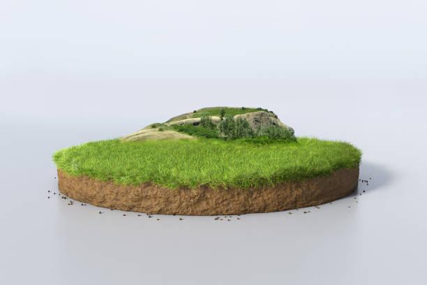 3d illustration rund jord tvärsektion med jord mark, grönt gräs och berg - land bildbanksfoton och bilder