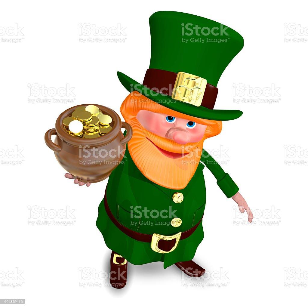 3D Illustration Saint Patrick Raises Pot of Gold stock photo
