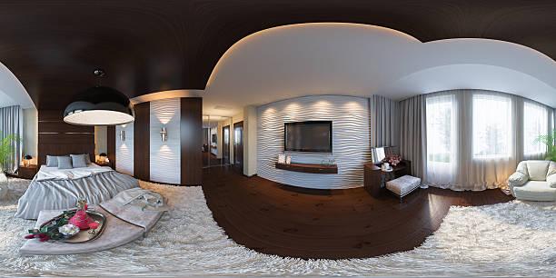 illustration seamless panorama of bedroom interior design. bildbanksfoto