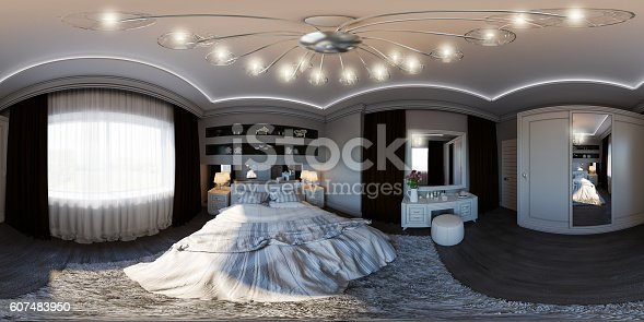 938518926istockphoto illustration seamless panorama of bedroom interior design. 607483950