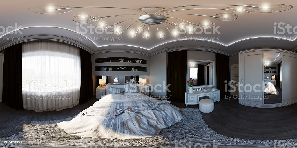 illustration seamless panorama of bedroom interior design. stock photo