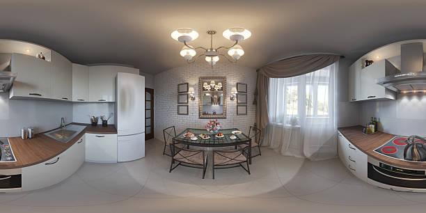 Illustration seamless panorama of kitchen interior bildbanksfoto