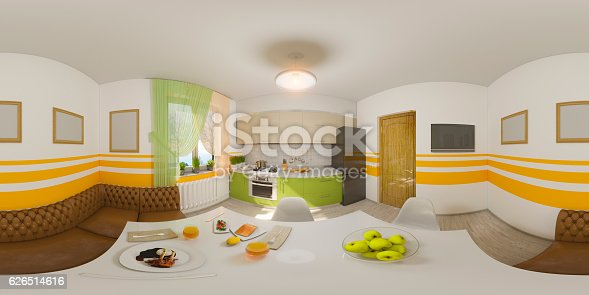 938518926istockphoto Illustration seamless panorama of kitchen interior 626514616