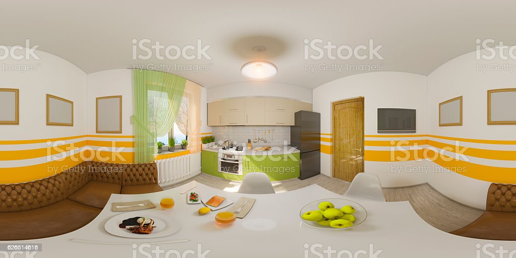 Illustration seamless panorama of kitchen interior stock photo