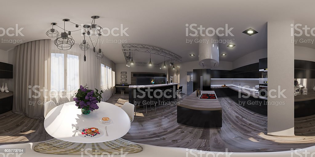 illustration seamless panorama of living room interior design stock photo