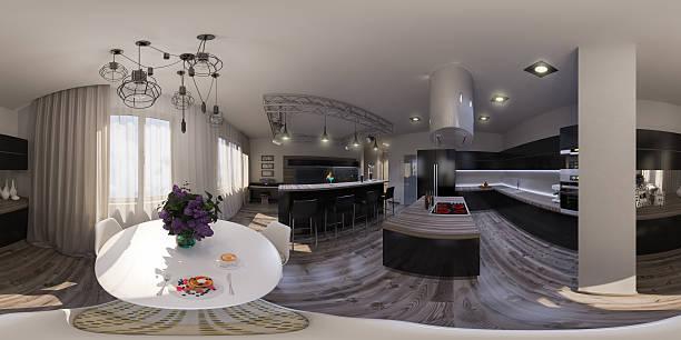 illustration seamless panorama of living room interior design bildbanksfoto