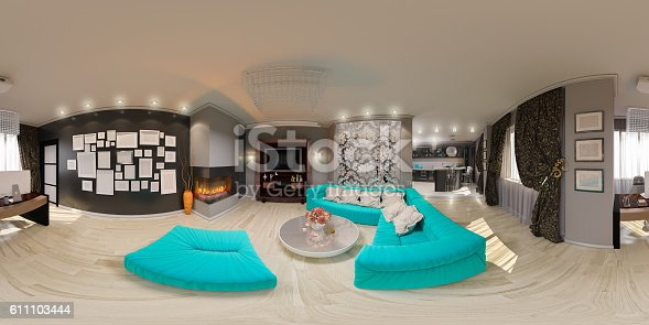 628979038istockphoto Illustration seamless panorama of living room interior 611103444