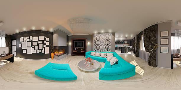 illustration seamless panorama of living room interior - 360 grad stock-fotos und bilder