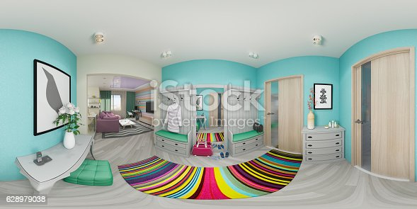 938518926istockphoto Illustration seamless panorama of living room 628979038