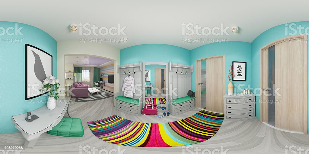 Illustration seamless panorama of living room stock photo