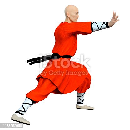 3D rendering of a shaolin monk exercising isolated on white background