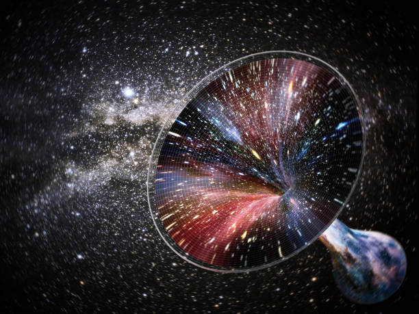 3D illustration showing a wormhole in the space stock photo