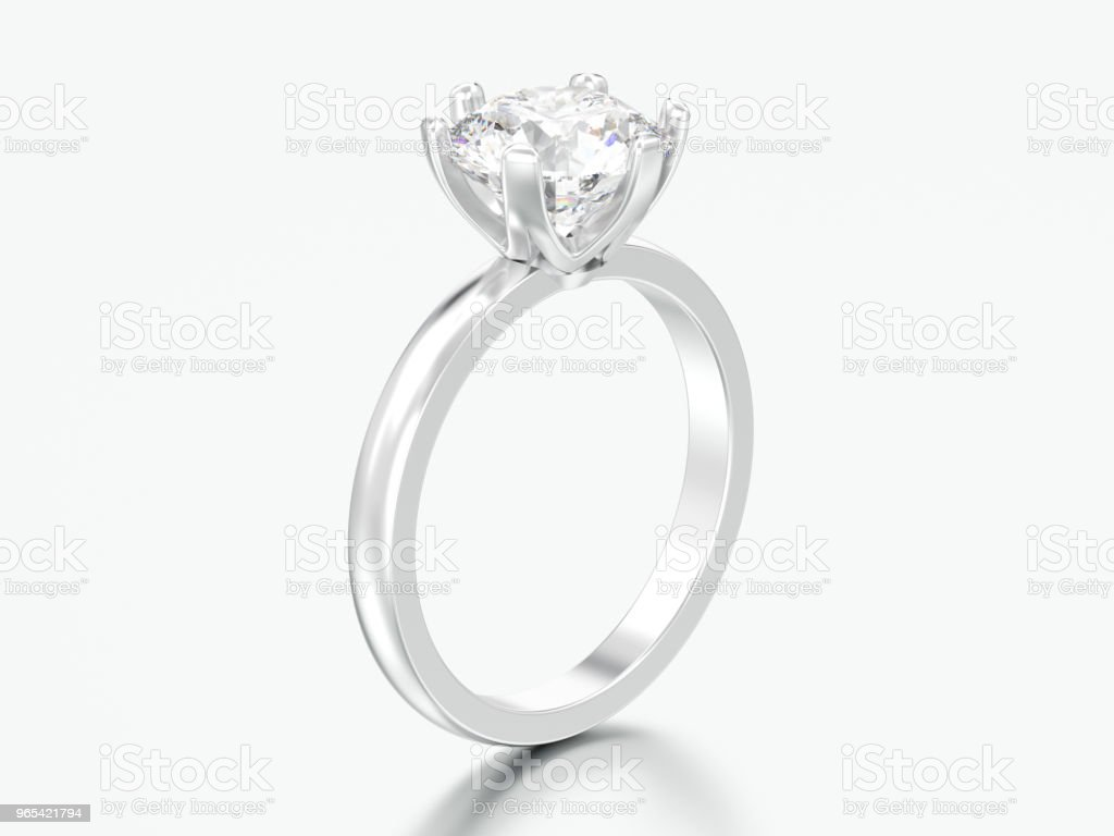 3D illustration silver traditional solitaire engagement diamond ring royalty-free stock photo