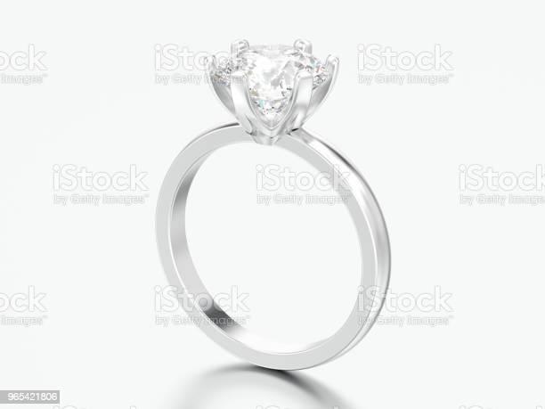 3d Illustration Silber Traditionellen Solitär Diamant Verlobungsring Stockfoto und mehr Bilder von Accessoires