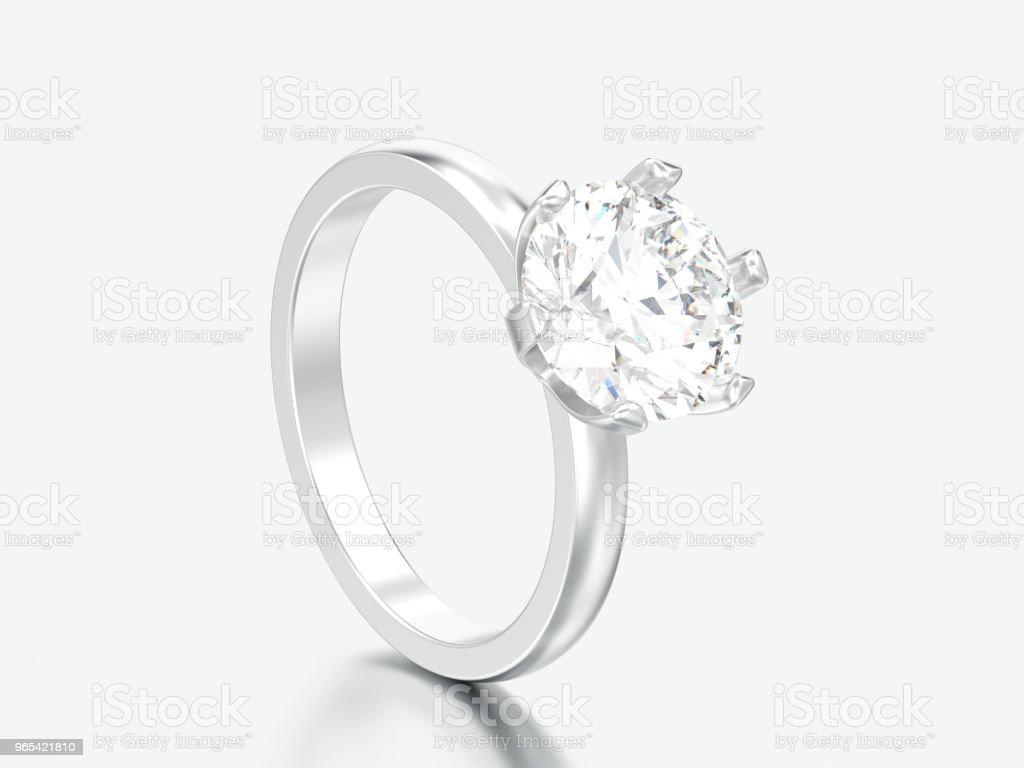 3D illustration argent traditionnel solitaire diamant bague - Photo de Accessoire libre de droits
