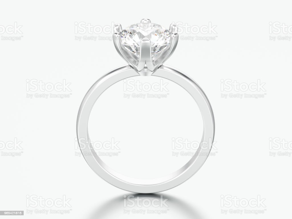 3D illustration silver traditional solitaire engagement diamond ring zbiór zdjęć royalty-free