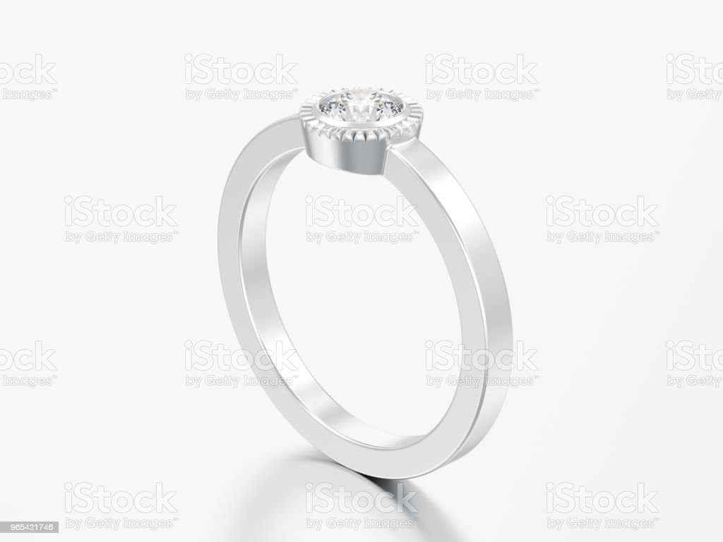 3D illustration silver wedding solitaire round diamond bezel ring zbiór zdjęć royalty-free