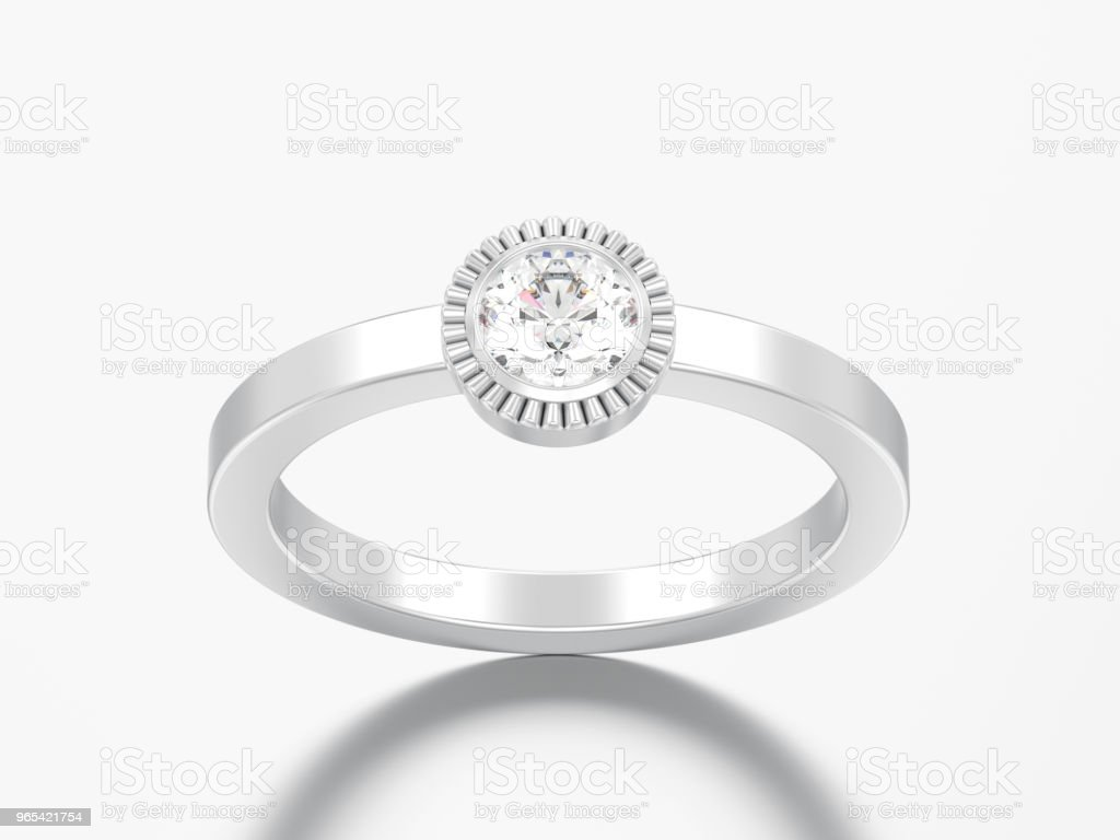 3D illustration silver wedding solitaire round diamond bezel ring royalty-free stock photo