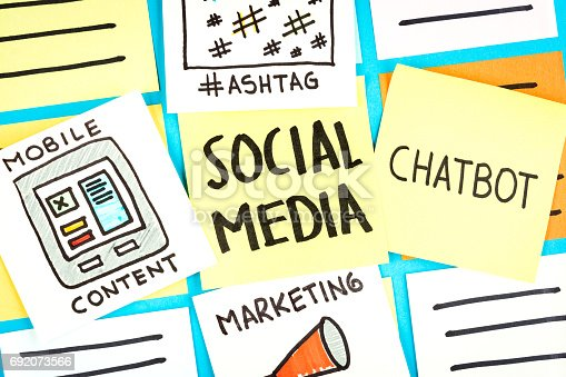 istock illustration social media paper note with marketing, mobile content, hashtag, chatbot paper note. 692073566