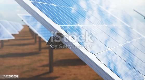 istock 3D illustration Solar Panels. Alternative energy. Concept of renewable energy. Ecological, clean energy. Solar panels, photovoltaic with reflection beautiful blue sky. Solar panels in the desert 1142892559