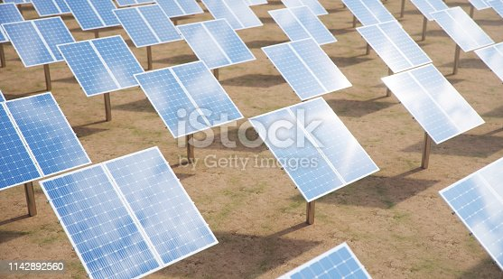 istock 3D illustration Solar Panels. Alternative energy. Concept of renewable energy. Ecological, clean energy. Solar panels, photovoltaic with reflection beautiful blue sky. Solar panels in the desert 1142892560