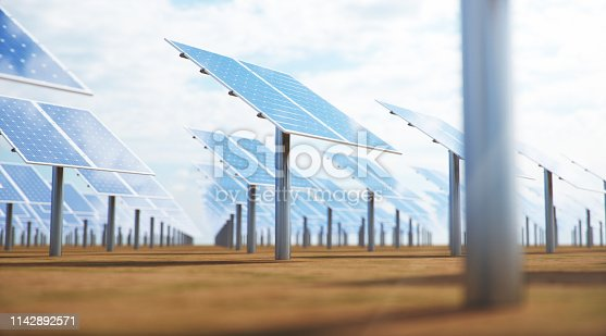 istock 3D illustration Solar Panels. Alternative energy. Concept of renewable energy. Ecological, clean energy. Solar panels, photovoltaic with reflection beautiful blue sky. Solar panels in the desert 1142892571