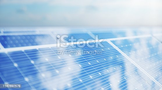 istock 3D illustration Solar Panels. Alternative energy. Concept of renewable energy. Ecological, clean energy. Solar panels, photovoltaic with reflection beautiful blue sky. Solar panels in the desert 1142892576