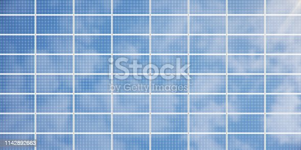 3D illustration solar panels background. Solar panels, photovoltaic panels with reflection beautiful blue sky. Concept of renewable energy. Ecological, clean energy. Eco, green energy. Solar cells