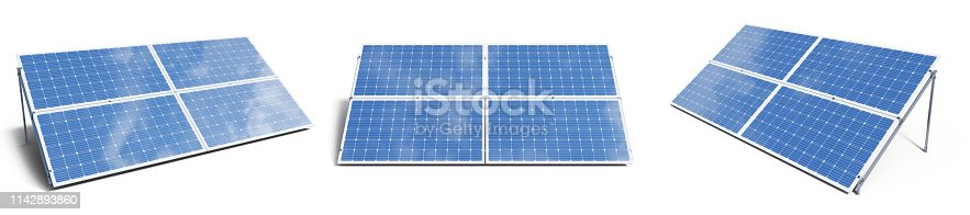 istock 3D illustration solar panels isolated on white background. Set solar panels with reflection beautiful blue sky. Concept of renewable energy. Ecological, clean energy. Eco, green energy. Solar cells. 1142893860