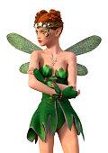 3D illustration spring fairy on white