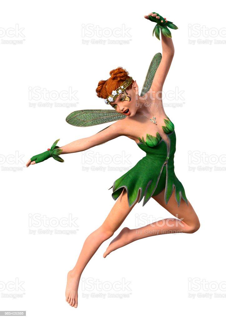 3D illustration spring fairy on white royalty-free stock photo
