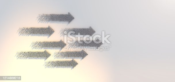 3D illustration success leadership business ideas concept crowd people  arrow form topview go forward with strength and powerful determind on white floor with sunlight