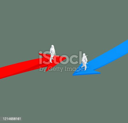 3D illustration successful leadership businessman stand on red and blue arrow  take control and organize business strategy ideas concept