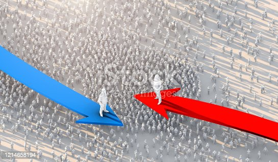 istock 3D illustration successful leadership businessman stand on red and blue arrow top of crowd people take control and organize business strategy ideas concept 1214658194