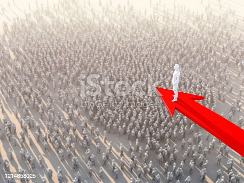 3D illustration successful leadership businessman stand on red arrow top of crowd people take control and organize business strategy ideas concept