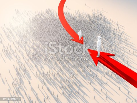 istock 3D illustration successful leadership businessman stand on red arrow top of crowd people take control and organize business strategy ideas concept 1214658231