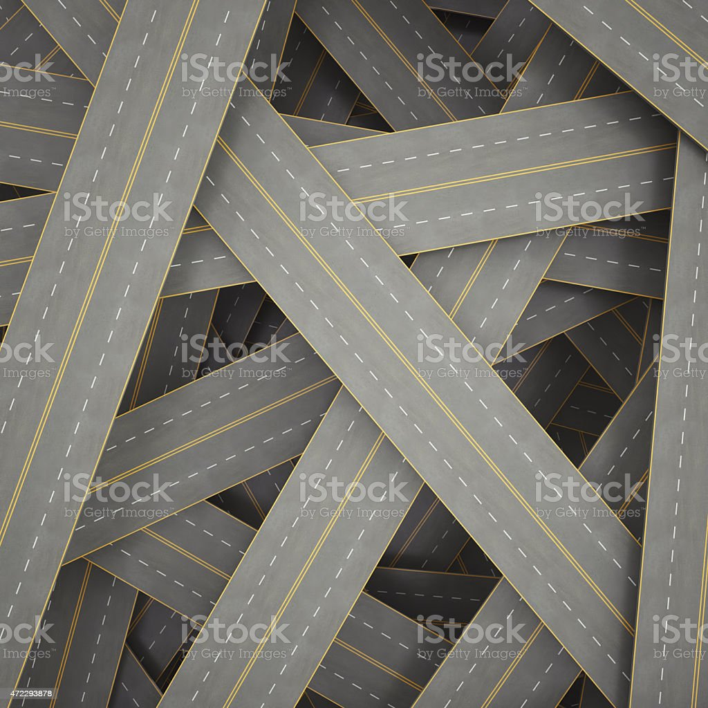 illustration tangled, crowded, chaotic roads 3d illustration tangled, crowded, chaotic roads. 3d high resolution image 2015 Stock Photo