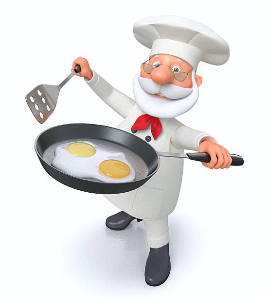 3 d ilustración los cocineros con una sartén - sequence animation fotografías e imágenes de stock